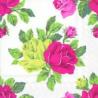 """Салфетка 33х33см (1шт) """"Королевские розы"""" белые"""