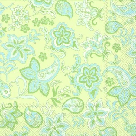 """Салфетка 33х33см (1шт) """"Растительный узор"""" мятно-зеленый"""