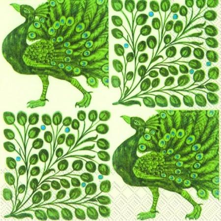 """Салфетка 33х33см (1шт) """"Зеленый павлин и ветвистый узор"""""""