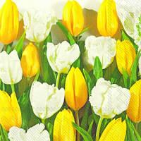 "Салфетка 33х33см (1шт) ""Желтые и белые тюльпаны"""