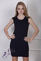 """Платье женское с кружевом """"Марго"""" темно-синий, 48"""