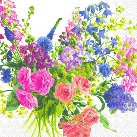 "Салфетка 33х33см (1шт) ""Бект цветов"" белый"