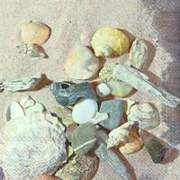 """Салфетка 33х33см (1шт) """"Морские ракушки и камни на песке"""""""