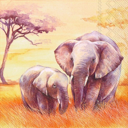"Салфетка 33х33см (1шт) ""Слоны"""