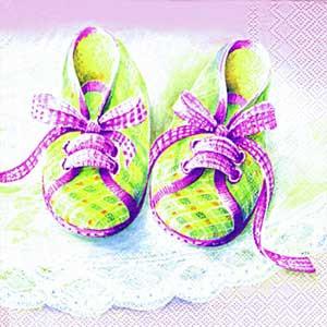 """Салфетка 33х33см (1шт) """"Baby - туфельки"""" розовые"""