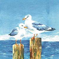"Салфетка 33х33см (1шт) ""Чайки"" голубой"