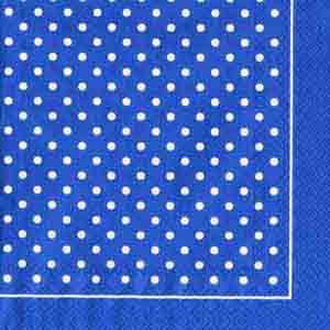 """Салфетка 33х33см (1шт) """"Мелкий горошек с каймой"""" бело-синий"""