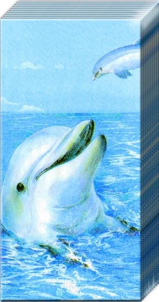 "Салфетка 21х21см (1шт) ""Дельфины"""