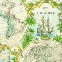 """Салфетка 21х21см (1шт.) """"Карта мира"""" кремовый"""