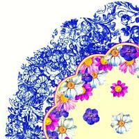 """Салфетка d 34см (1шт) """"Цветочный стиль"""" голубой"""