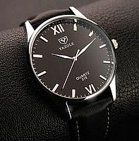 Модные наручные мужские часы с черным ремешком код 344
