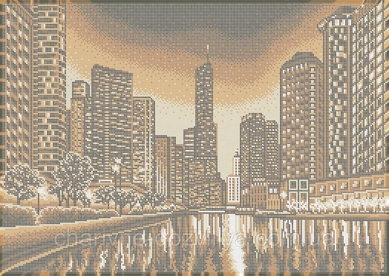 """Схема для вышивки бисером на габардине пейзаж (бежевая сепия) """"Ночной город"""""""