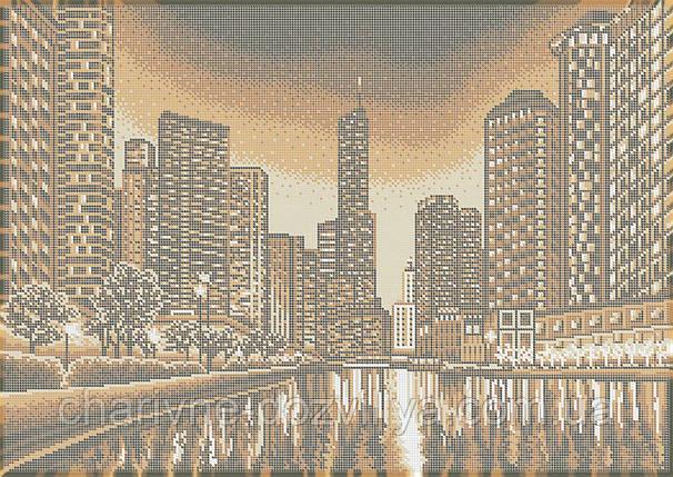 """Схема для вышивки бисером на габардине пейзаж (бежевая сепия) """"Ночной город"""" , фото 2"""