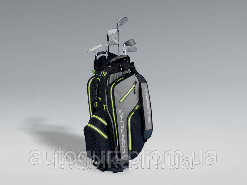 Сумка на колесиках для гольфа Porsche Golf Cart Bag, Black-Grey-Green