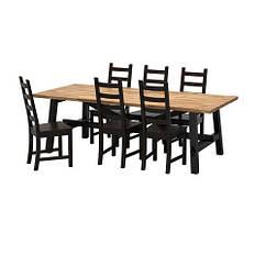 Стол и 6 стульев, акация, коричнево-чёрный, 235x100 см IKEA SKOGSTA / KAUSTBY 492.462.94