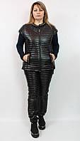 Женский утепленный костюм из плащевки и трикотажа