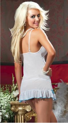 Пеньюар Kamelia полупрозрачный бело-голубой, фото 2