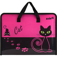 Портфель на блискавці, 1 відділ., A4 Kite, Black Cat