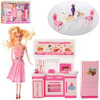 Мебель 9087A (9шт) кухня, кукла 29см, стол, стулья, посуда, в кор-ке, 64,5-35,5-8см