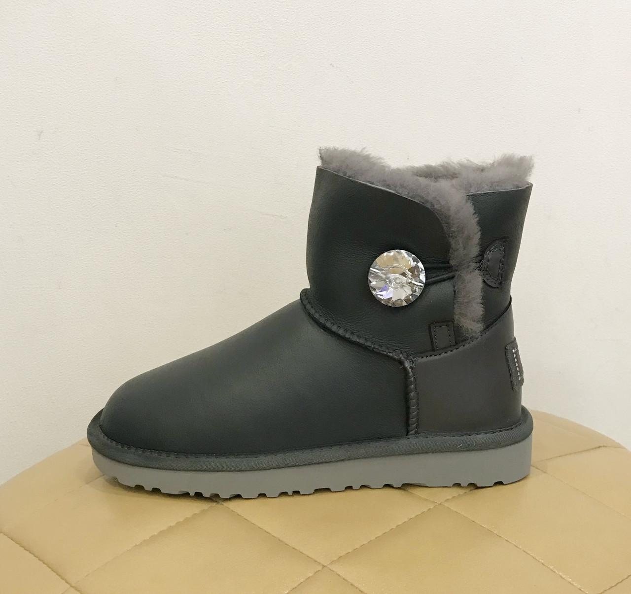 UGG Bailey Bling Swarovski Min Grey Metallic Серые кожаные угги мини с кристалом Сваровски
