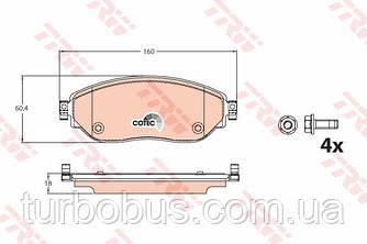 Дисковые тормозные колодки (передние) на Renault Trafic III 2014-> — TRW (США\Германия) - GDB2096