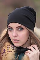 Набор «Шапка и шарф» (двойной трикотаж) черный
