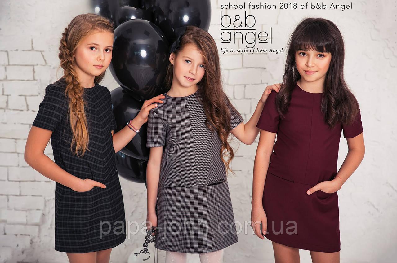 """Платье, мелкая клетка серая\бордо """"гусиная лапка"""", B&B Angel, р.152"""
