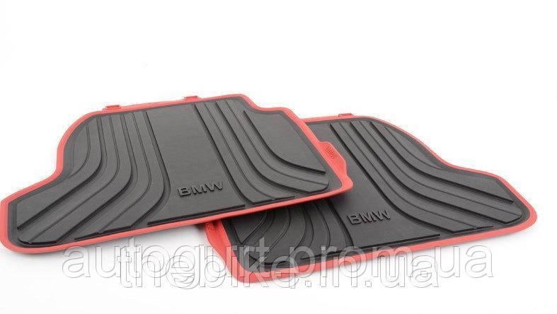 Задние ножные коврики для BMW 2 (F22) с красной окантовкой