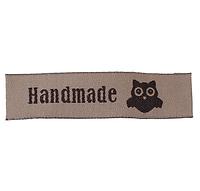 """Бирка текстильная """"Hand made """" с совой , 5,8 х1,5 см, цвет кофейный"""