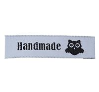 """Бирка текстильная """"Hand made """" с совой , 5,8 х1,5 см, цвет белый"""