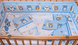 Набор постельного белья в детскую кроватку из 4 предметов Совы голубой