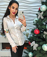 Шикарная женская блузка с вышивкой и кружевом