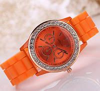 Часы женские Geneva Luxury Crystal стразы оранжевые