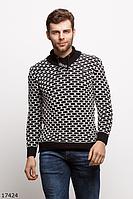 Мужской стильный свитер 17424 черный белый