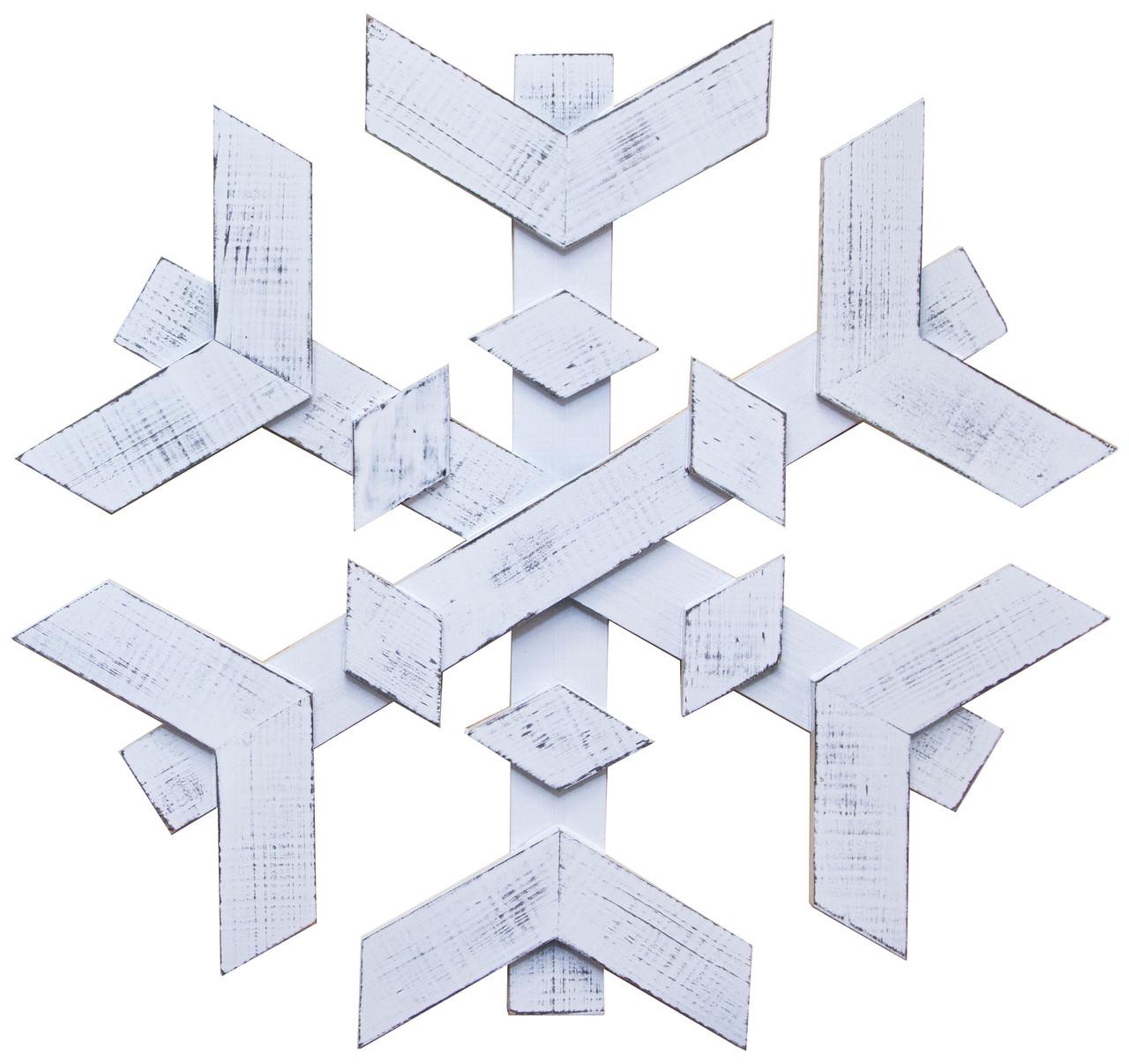 Декор ДРЕВОДЕЛЯ Снежинка на дверь 53х53х3,5см Біла патина (080601)