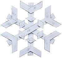 Декор ДРЕВОДЕЛЯ Снежинка на дверь 53х53х3,5см Біла патина (080601), фото 1