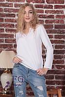 """Элегантная блуза с кружевом """"Мери"""" белый, 46-48"""