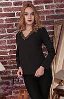 """Элегантная блуза с кружевом """"Мери"""" черный, 46-48"""