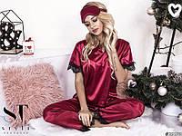 Красивая женская пижама брюки маечка с кружевом и маской для сна в расцветках, фото 1