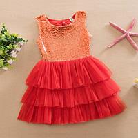 Платье с пайетками (красн)  90,100, фото 1