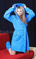 Женский махровый халат для дома Голубой, 48-50