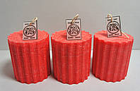 Свеча интерьерная цилиндр рельефная красная D= 7см H= 7см (цвет на заказ)