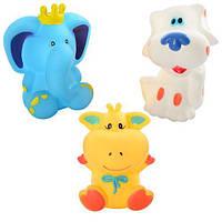 Игрушка для купания, пищалка, 3шт (собачка, теленок, слон), в кульке