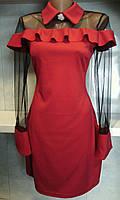 Красивое женское платье с сеткой и воротником