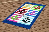 Велюровое полотенце Lotus пляжное Marine 75*150