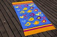 Велюровое полотенце Lotus пляжное Birds оранжевое 75*150