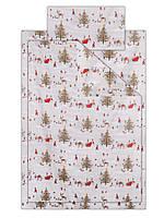 Постельный набор белья детский полуторный Рождество дед мороз