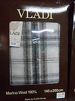 Плед Vladi Марсель бело-бежевый крупная клетка 140*200