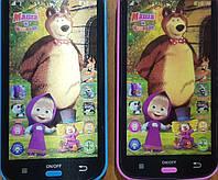 Интерактивный обучающий Сенсорный детский телефон Маша и Медведь песни сказки и английский Язык
