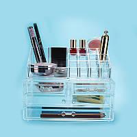 Настольный акриловый органайзер для косметики Cosmetic Organizer Storage Box 24×14×19 см